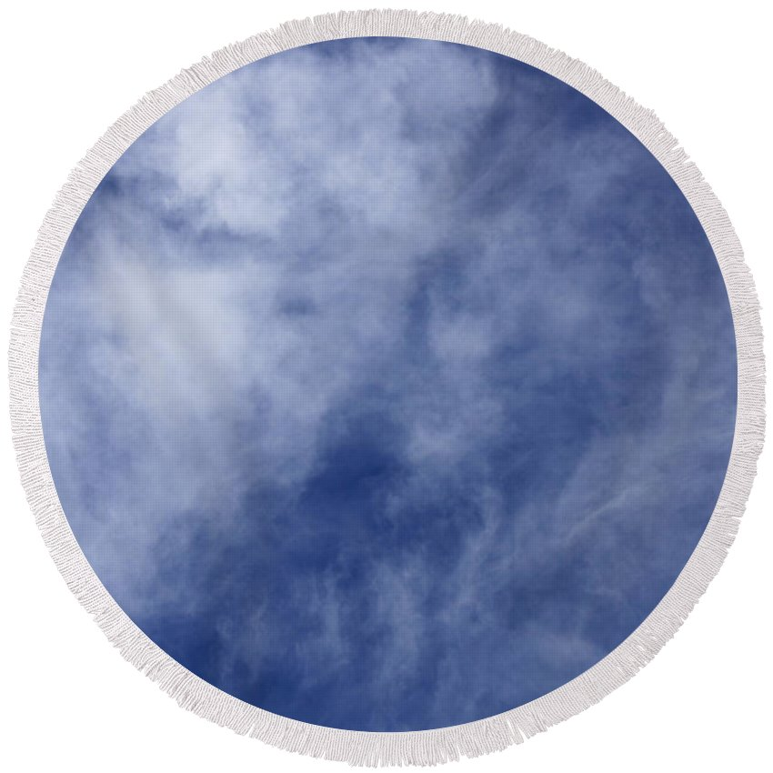 Cloud.sky Round Beach Towel featuring the photograph Clouds 3 by Teresa Mucha