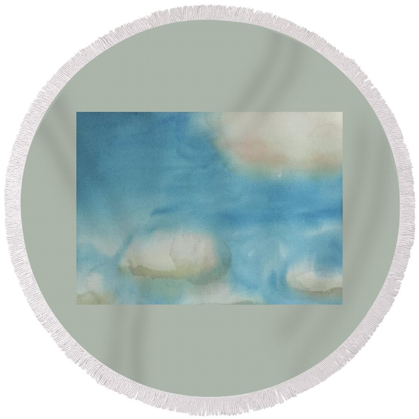 Sky Round Beach Towel featuring the painting Clouds by Alice Singer