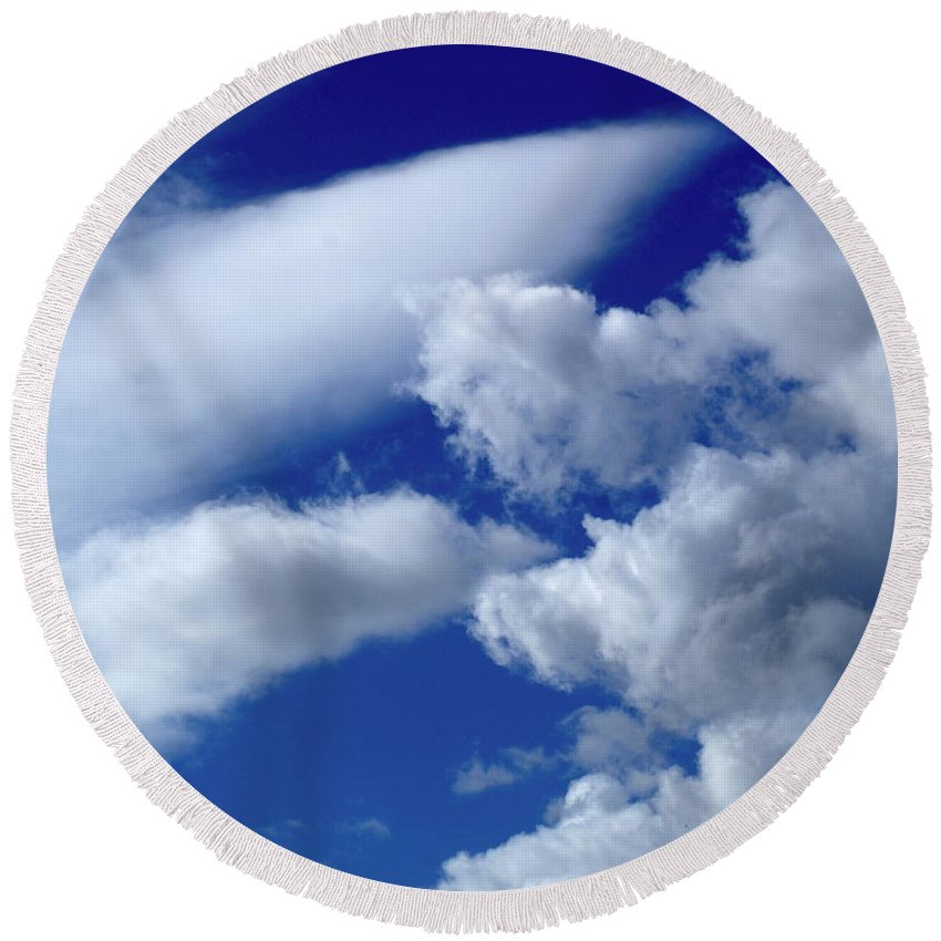 Nature Round Beach Towel featuring the photograph Clouds by Ben Upham III