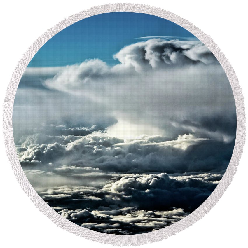 Clouds Round Beach Towel featuring the photograph Clouds by Christopher Holmes