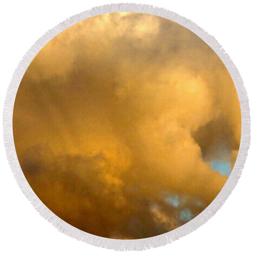 Cloud Round Beach Towel featuring the photograph Clouds Illusions by Leanne Seymour