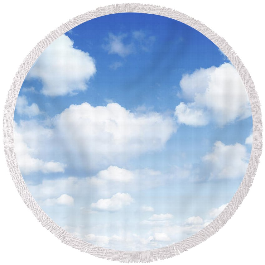 Blue Round Beach Towel featuring the photograph Clouds In Blue Sky by Les Cunliffe