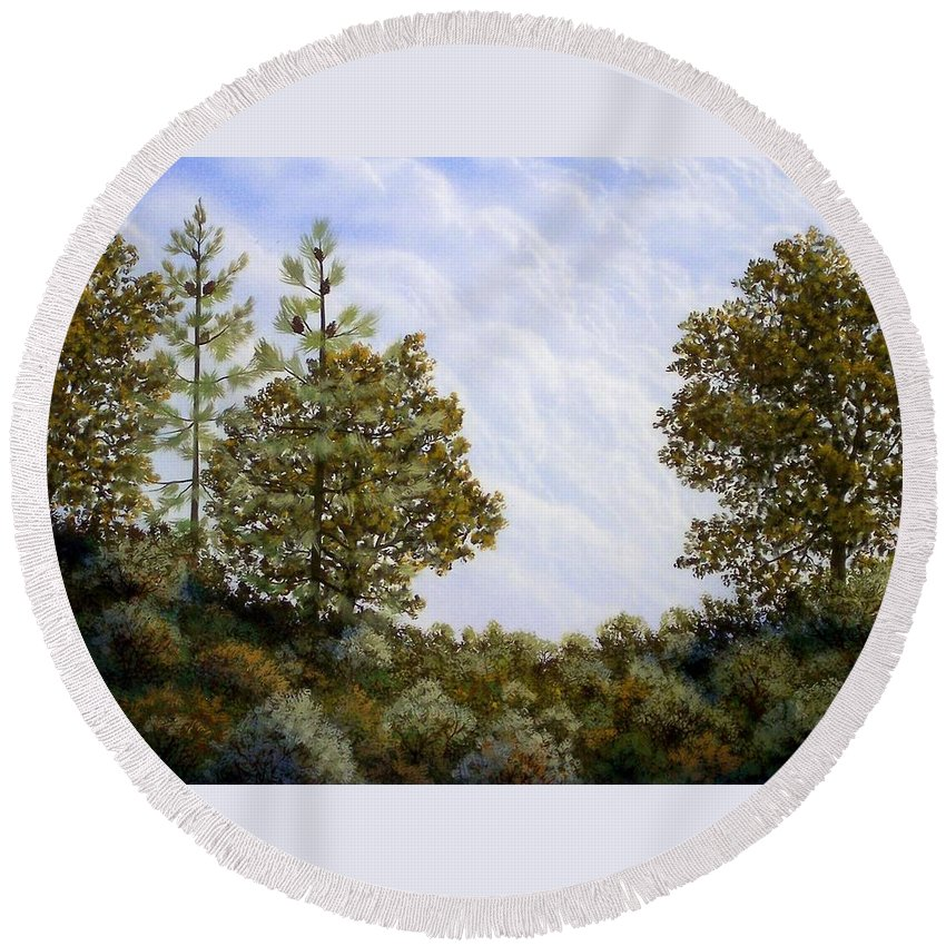 Landscape Round Beach Towel featuring the painting Clouds In Foothills by Frank Wilson