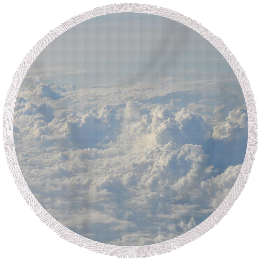 Clouds Round Beach Towel featuring the photograph Clouds Like Mountains Of Snow by Bill Cannon
