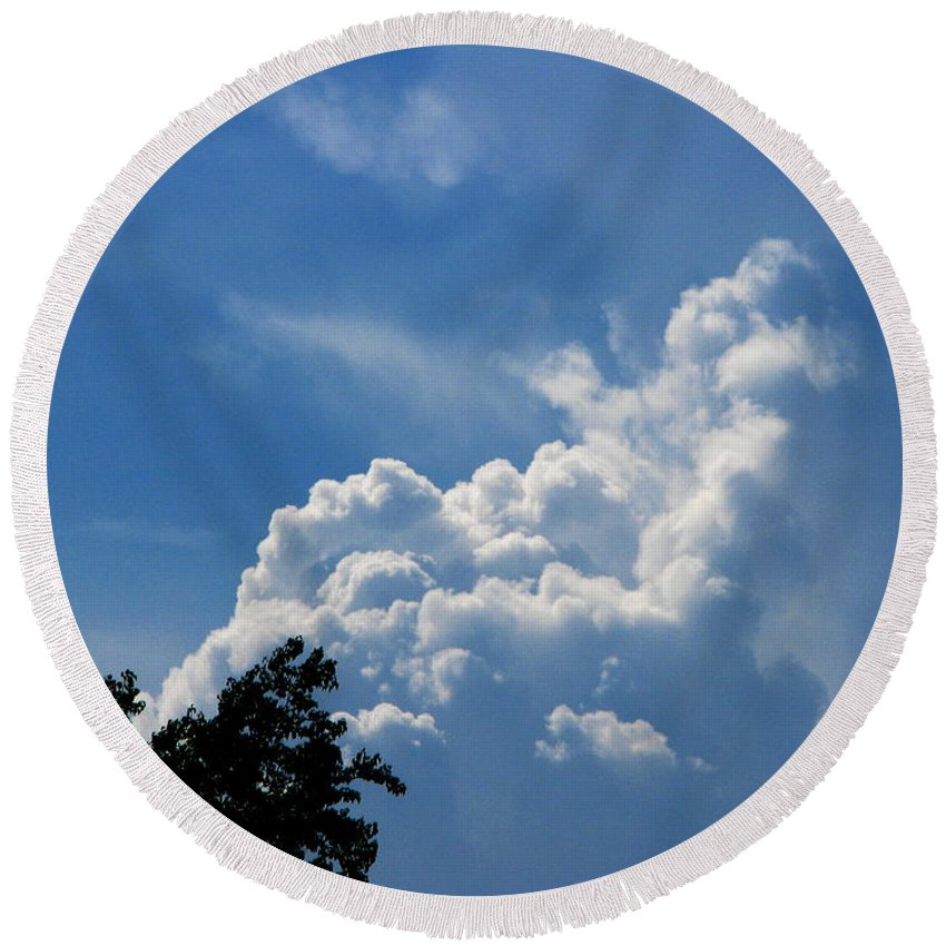 Patzer Round Beach Towel featuring the photograph Clouds Of Art by Greg Patzer