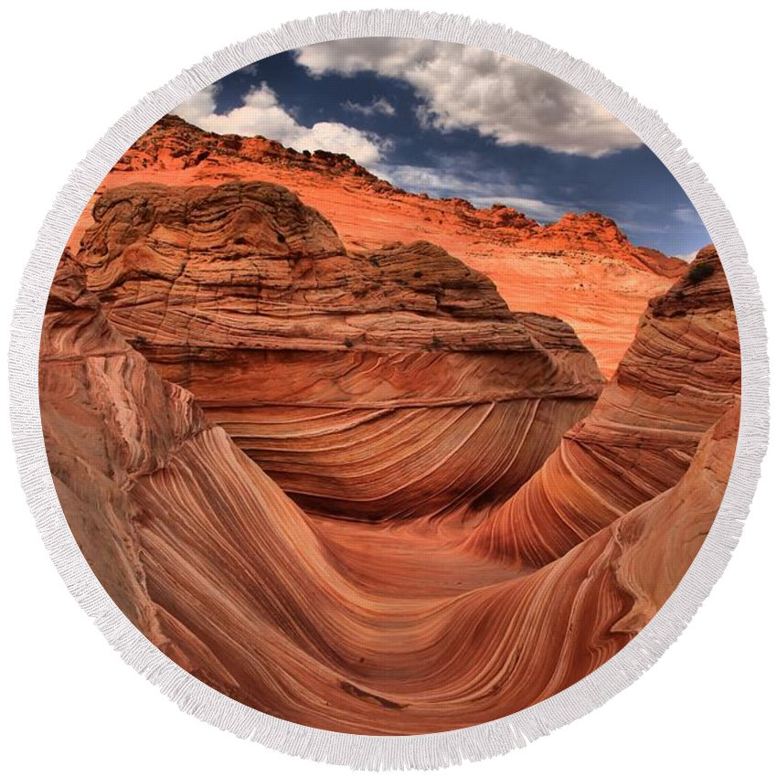 The Wave Round Beach Towel featuring the photograph Clouds Over Coyote Buttes North by Adam Jewell