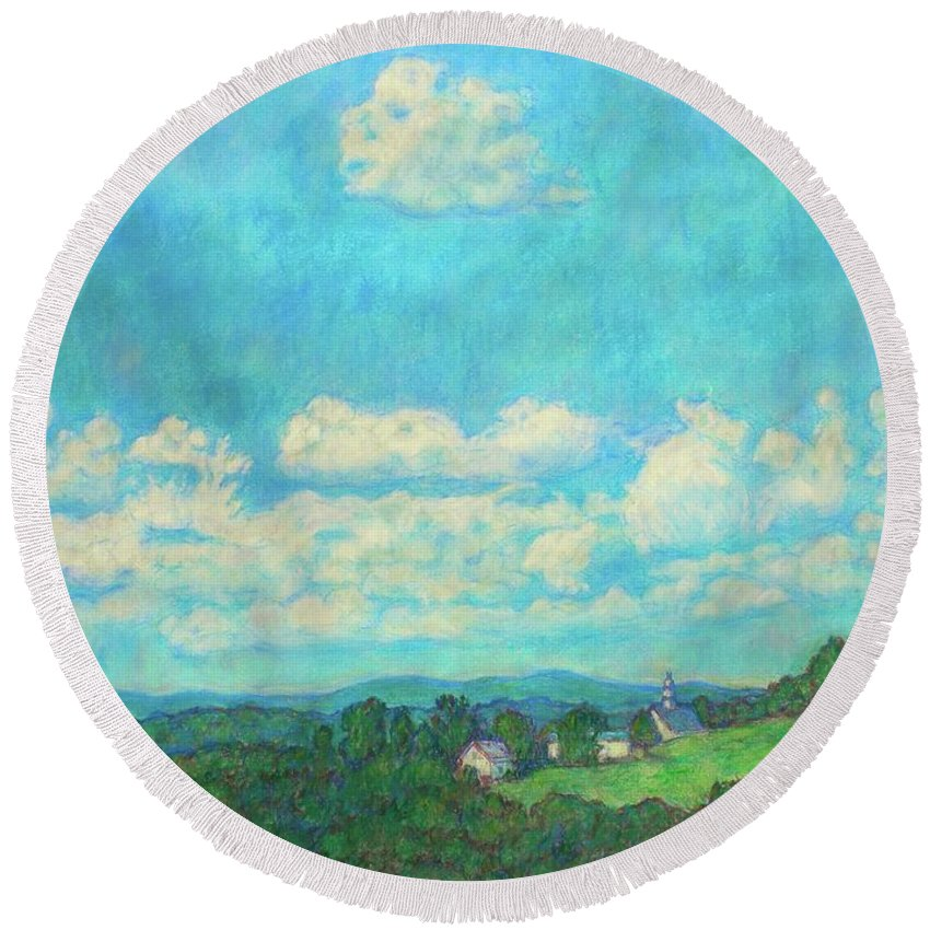 Landscape Round Beach Towel featuring the painting Clouds Over Fairlawn by Kendall Kessler