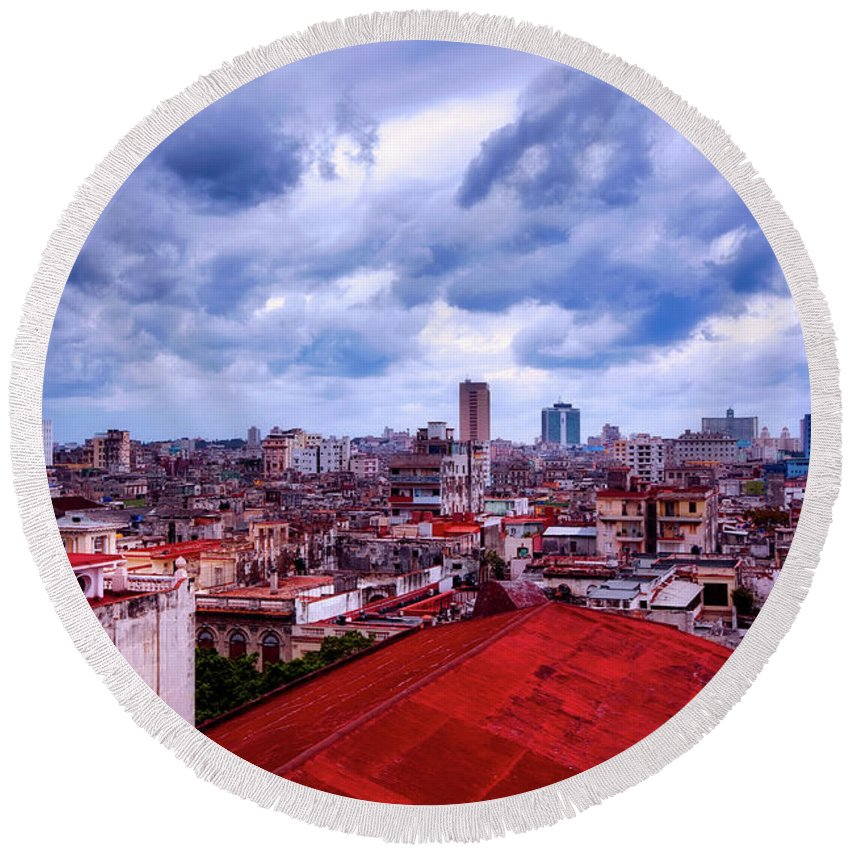 Havana Round Beach Towel featuring the photograph Clouds Over Havana by Mountain Dreams