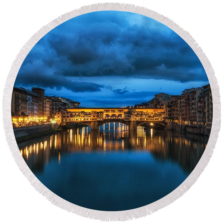 Italy Round Beach Towel featuring the photograph Clouds Over Ponte Vecchio by Aaron Choi