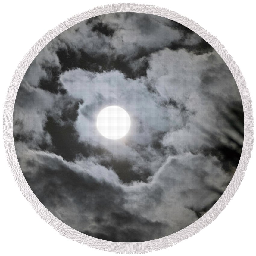 Contemporary Round Beach Towel featuring the photograph Clouds Over The Moon by Alan M Thwaites