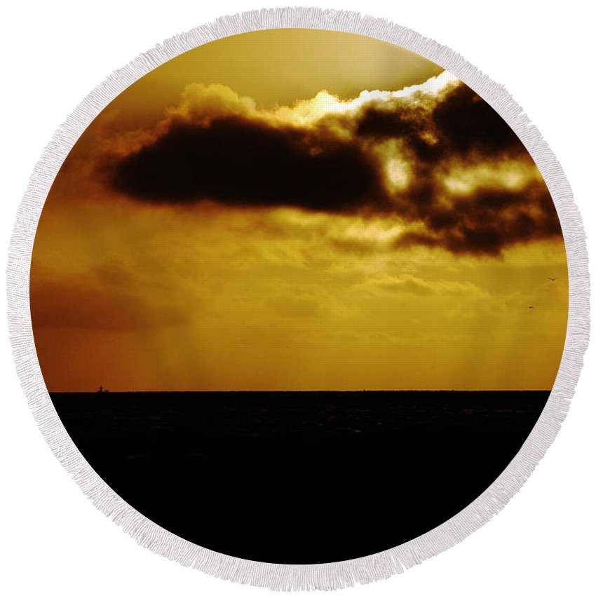 Clay Round Beach Towel featuring the photograph Clouds Over The Ocean by Clayton Bruster