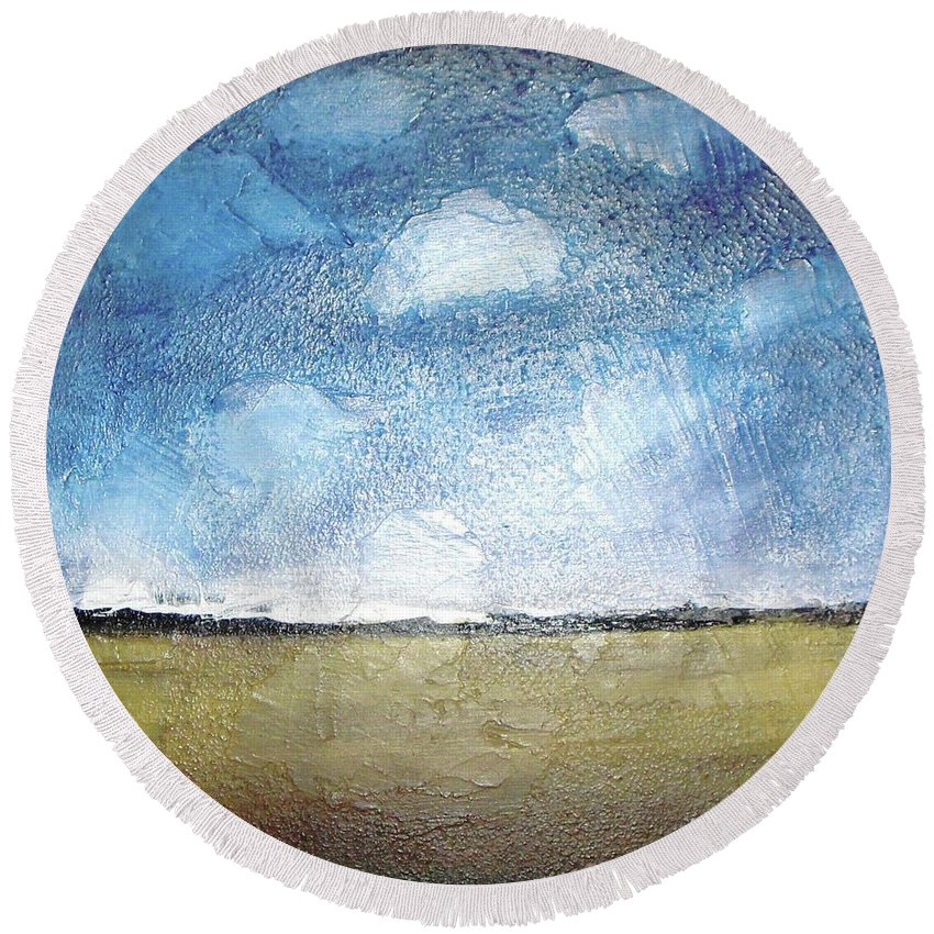 Clouds Round Beach Towel featuring the painting Flying Clouds by Vesna Antic