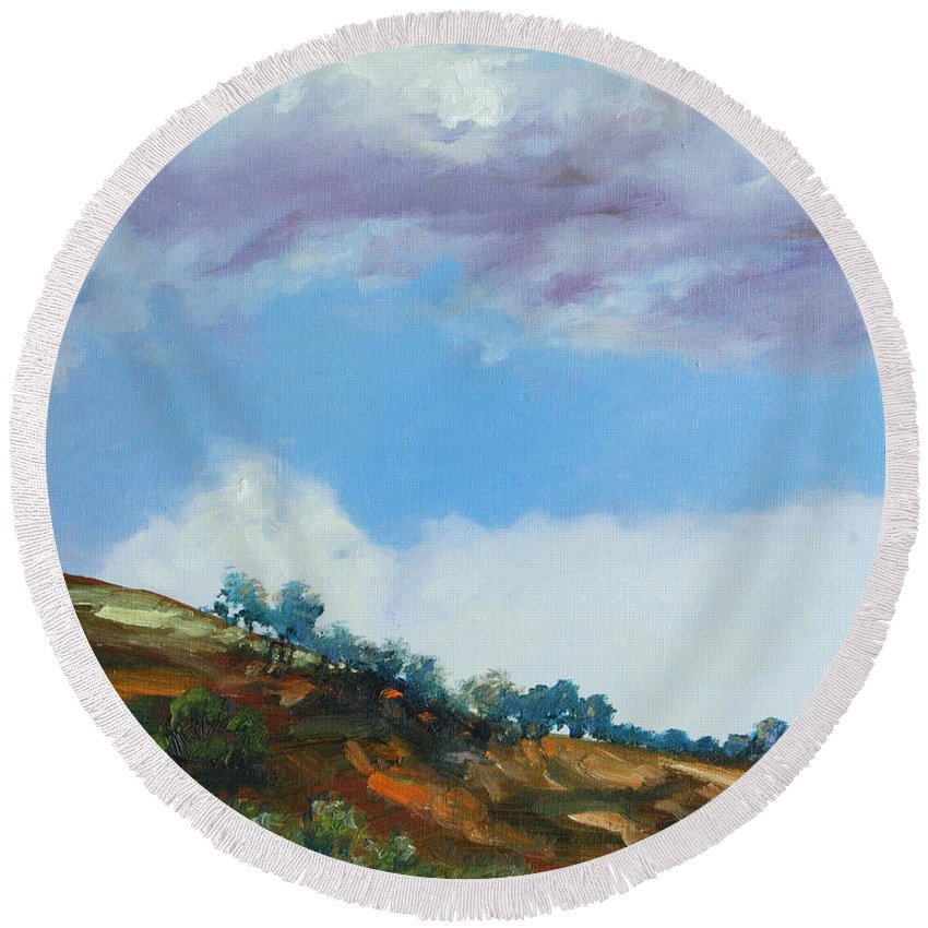 Sky Round Beach Towel featuring the painting Clouds by Rick Nederlof