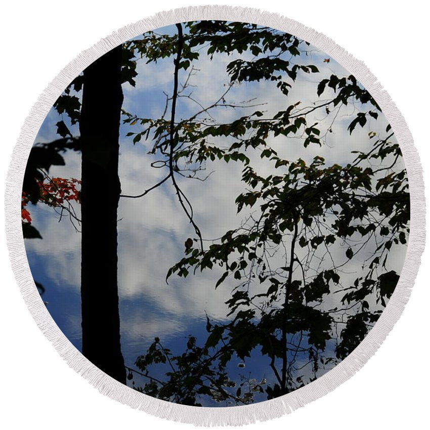Water Round Beach Towel featuring the photograph Clouds Tree Water by David Arment