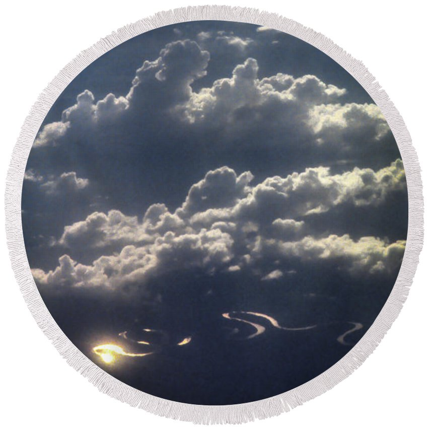 Australia Round Beach Towel featuring the photograph Cloudscape And River by David Halperin
