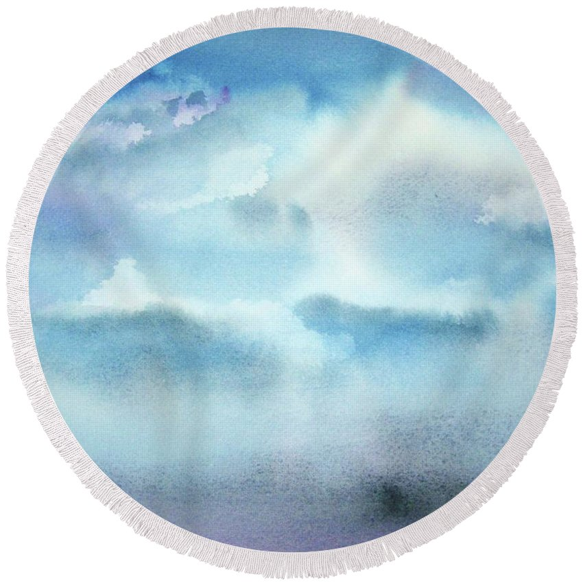 Clouds Round Beach Towel featuring the painting Cloudscape by Ellen Levinson