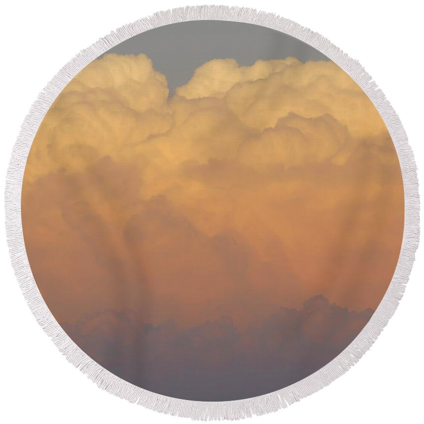 Clouds Round Beach Towel featuring the photograph Cloudscape Work Number Six by David Lee Thompson