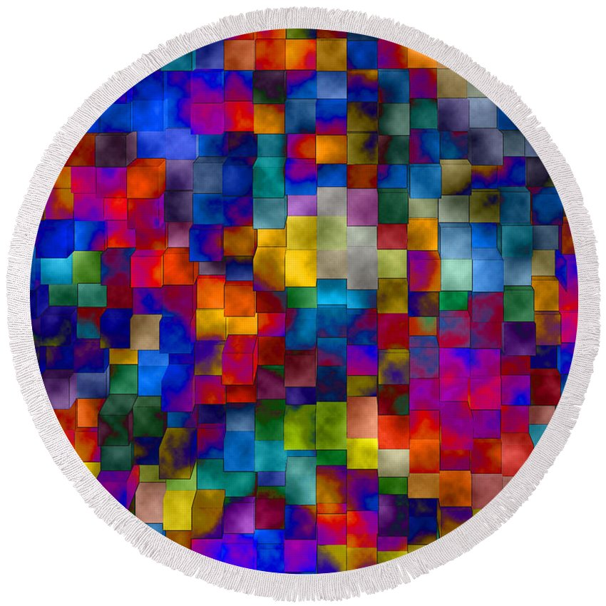 Abstract Round Beach Towel featuring the digital art Cloudy Cubes by Ruth Palmer
