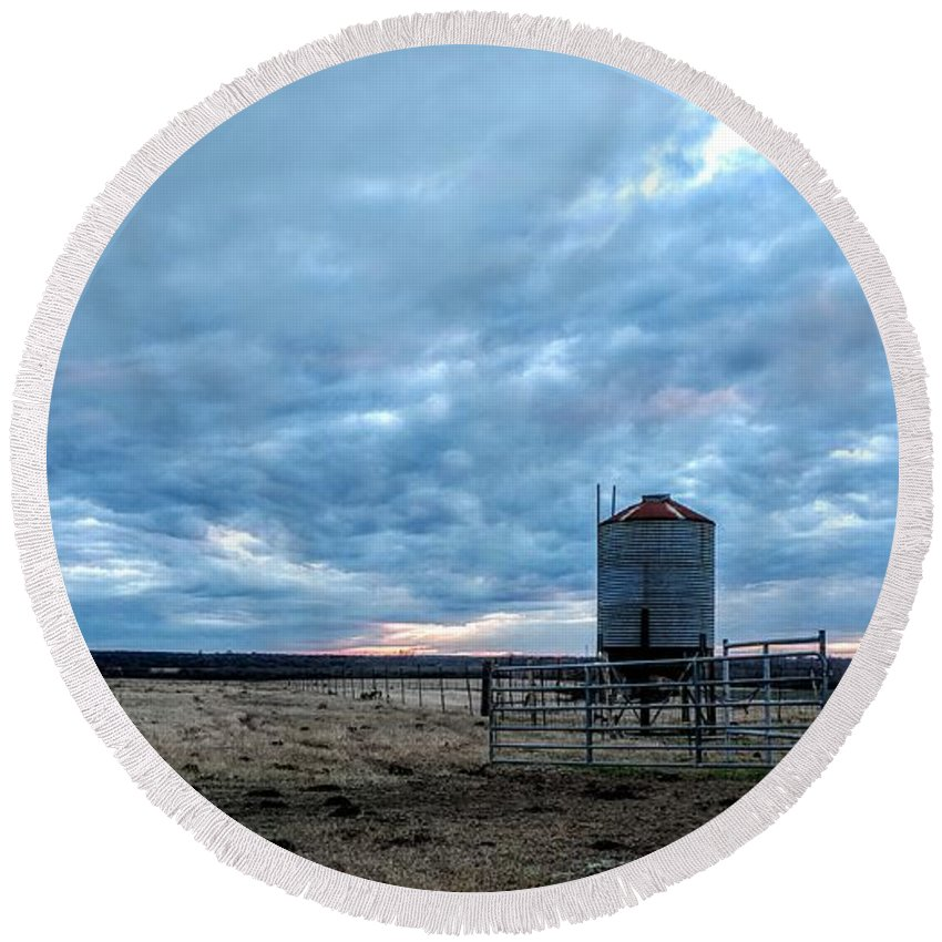 Cloud Round Beach Towel featuring the photograph Cloudy Day On The Ranch by Rancher's Eye Photography