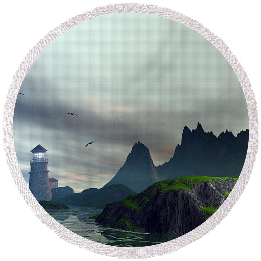 Ocean Landscape Round Beach Towel featuring the digital art Cloudy Ocean Scene by John Junek