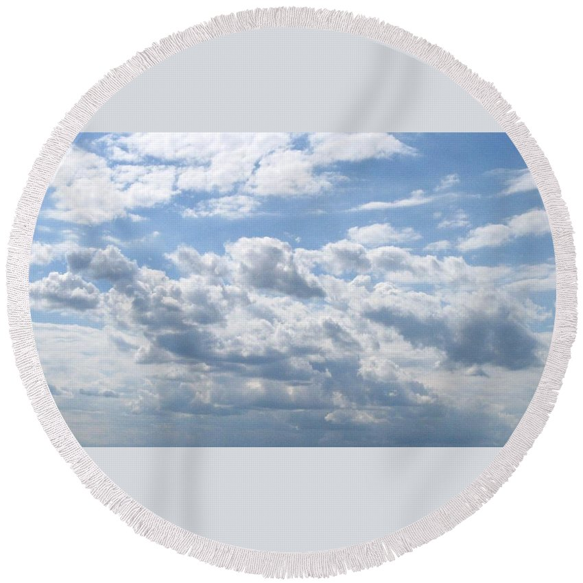 Clouds Round Beach Towel featuring the photograph Cloudy by Rhonda Barrett