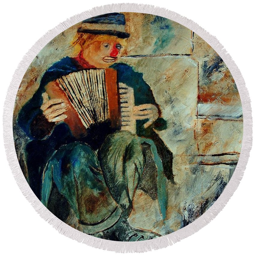Music Round Beach Towel featuring the painting Clown by Pol Ledent