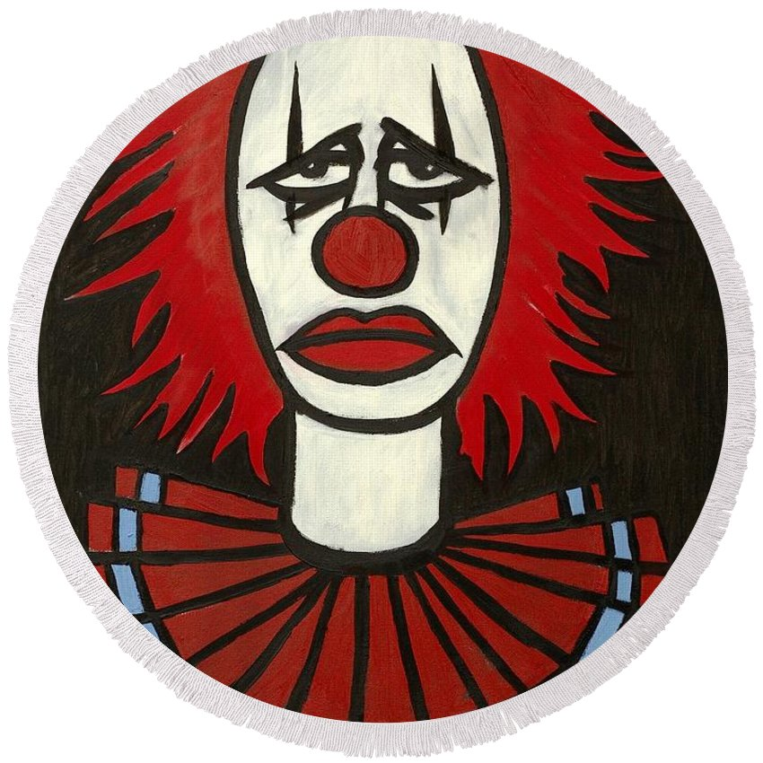 Clay Round Beach Towel featuring the painting Clown by Thomas Valentine