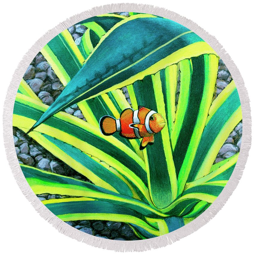 Fish Round Beach Towel featuring the painting Clownfish by Snake Jagger