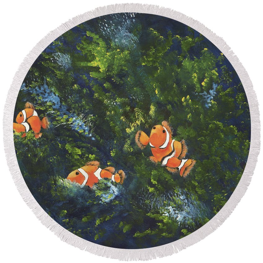 Clown Fish Round Beach Towel featuring the painting Clowning Around by Carol Sweetwood