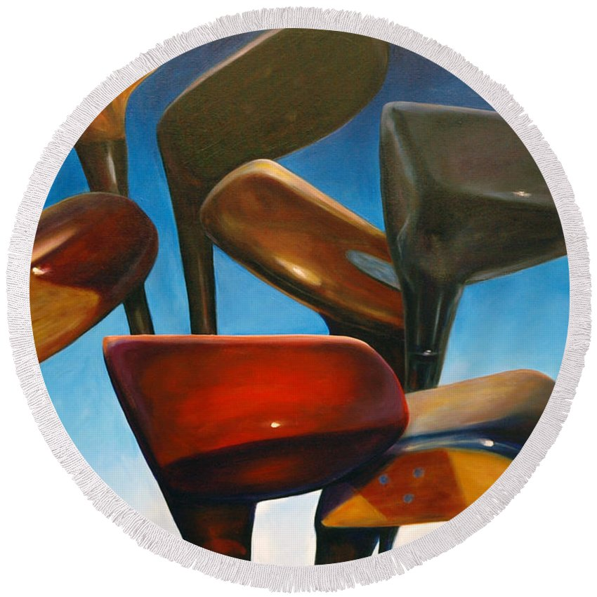 Golf Clubs Brown Round Beach Towel featuring the painting Clubs Rising by Shannon Grissom