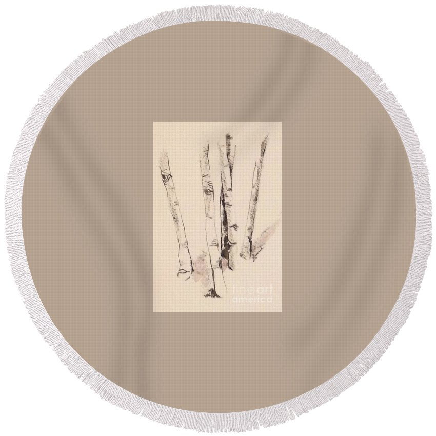 Chiaroscuro Round Beach Towel featuring the painting Clump Of Birch In Winter by Laurel Adams