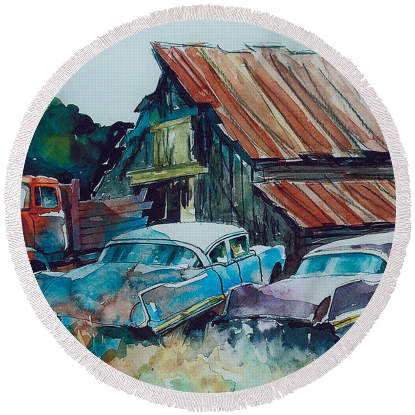 Ford Cabover Round Beach Towel featuring the painting Cluster of Restorables by Ron Morrison
