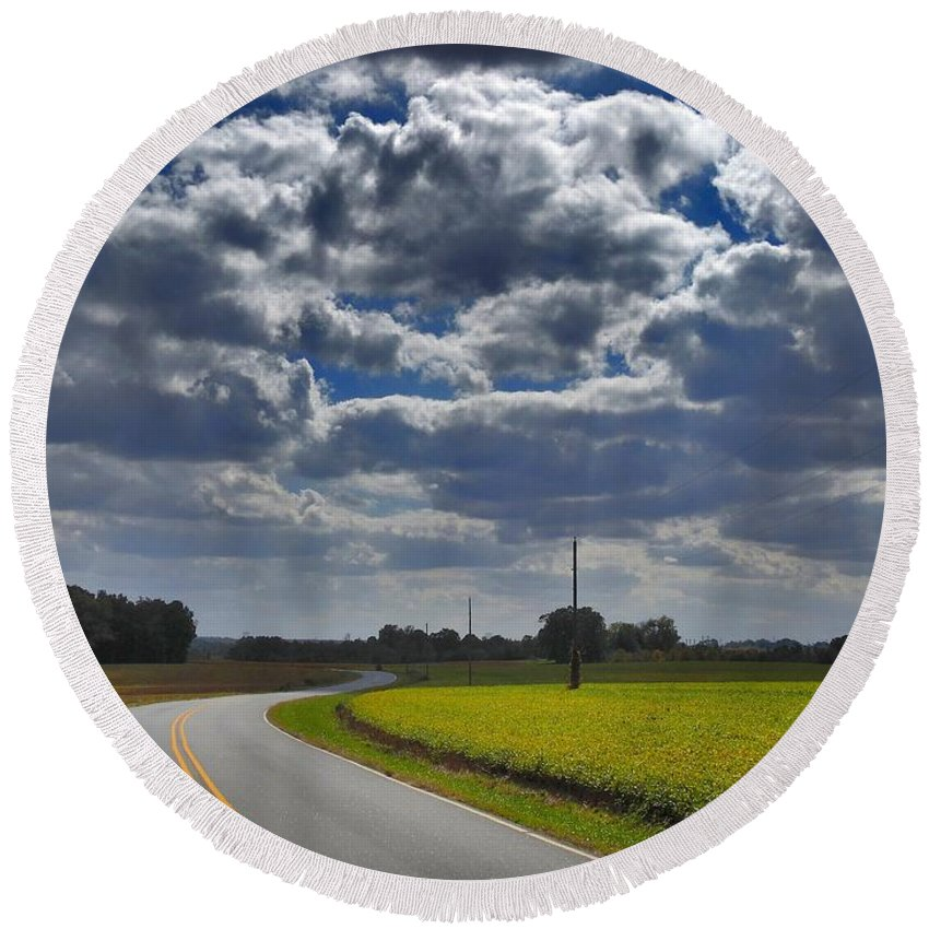 Nature Round Beach Towel featuring the photograph Clyde Fitzgerald Road Scenery by Matt Taylor