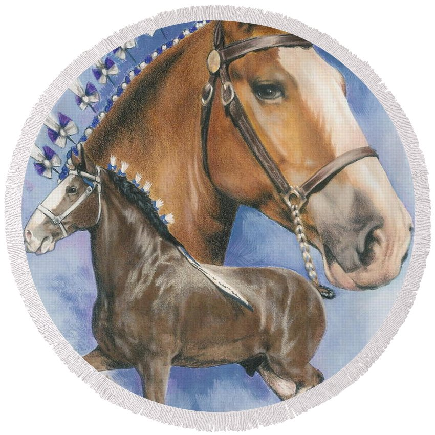 Horse Round Beach Towel featuring the mixed media Clydesdale by Barbara Keith