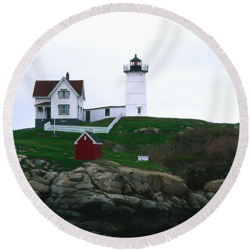 Landscape Lighthouse Nautical New England Nubble Light Cape Neddick Round Beach Towel featuring the photograph Cnrf0502 by Henry Butz