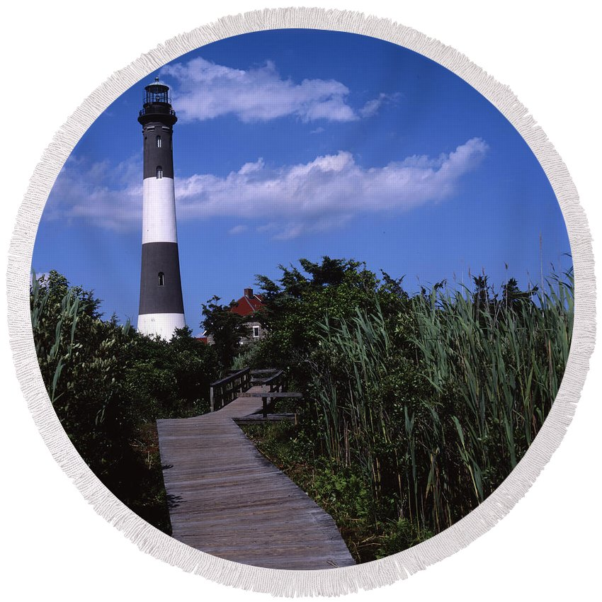Landscape Lighthouse Fire Island Round Beach Towel featuring the photograph Cnrf0702 by Henry Butz