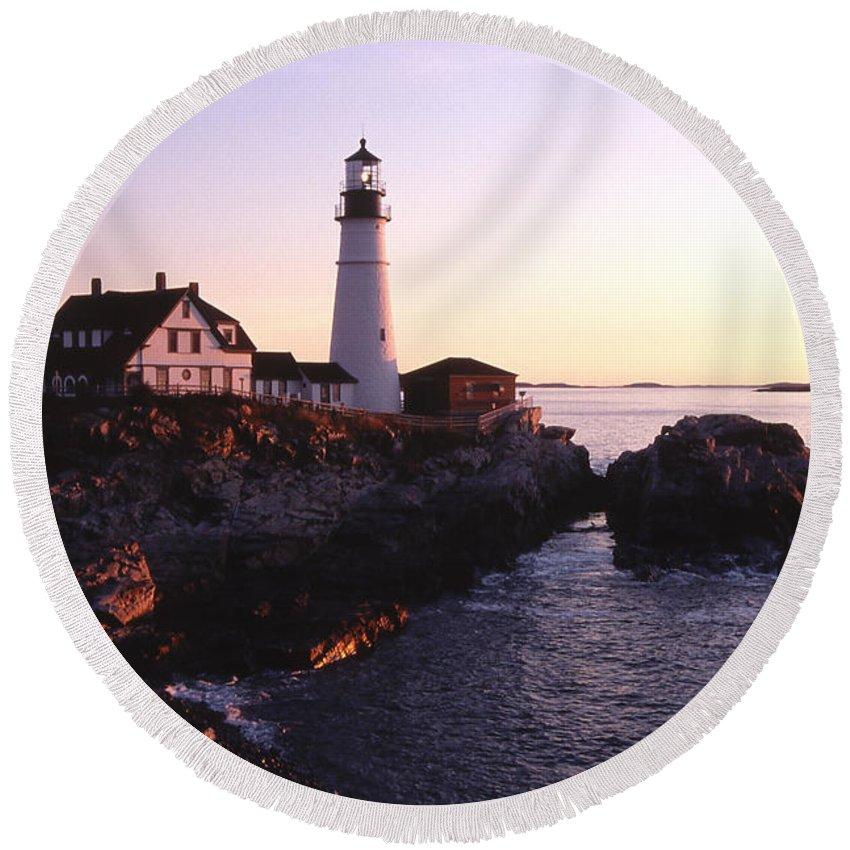 Landscape Lighthouse Nautical New England Portland Head Light Cape Elizabeth Round Beach Towel featuring the photograph Cnrf0904 by Henry Butz
