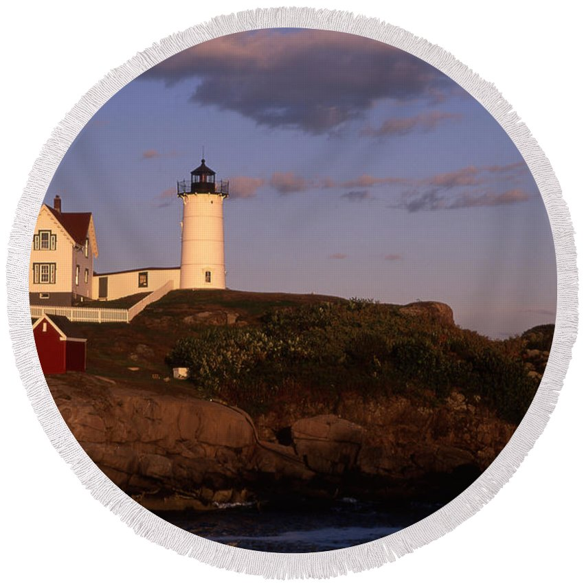 Landscape New England Lighthouse Nautical Coast Round Beach Towel featuring the photograph Cnrf0908 by Henry Butz