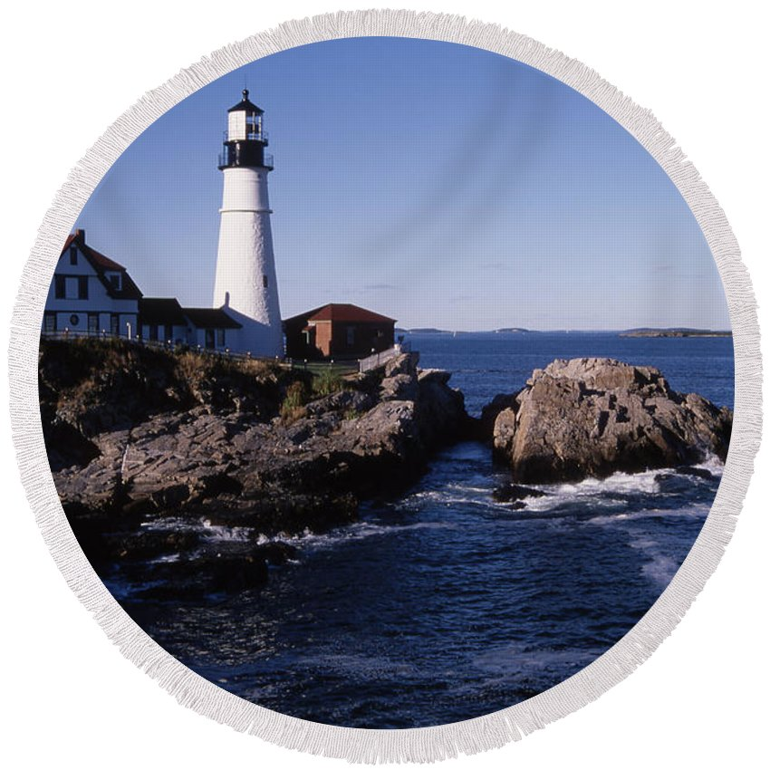 Landscape New England Lighthouse Nautical Coast Round Beach Towel featuring the photograph Cnrf0910 by Henry Butz