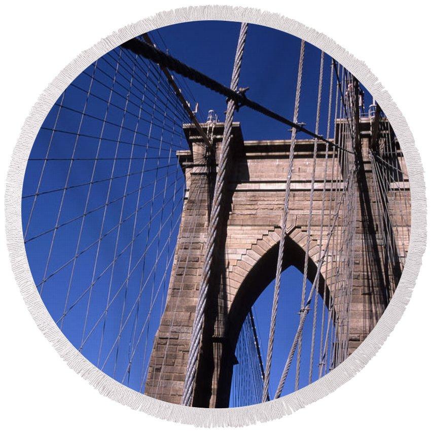 Landscape Brooklyn Bridge New York City Round Beach Towel featuring the photograph Cnrg0406 by Henry Butz