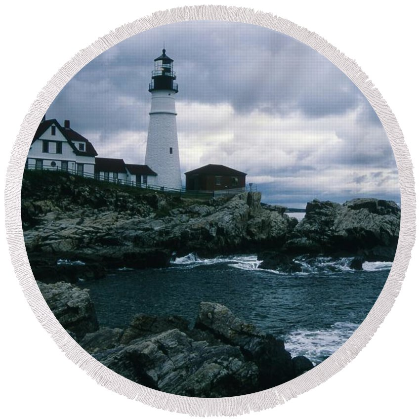 Landscape New England Lighthouse Nautical Storm Coast Round Beach Towel featuring the photograph Cnrg0601 by Henry Butz