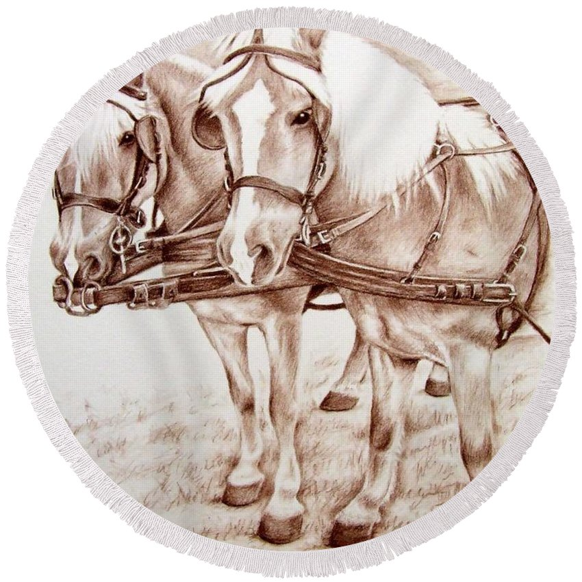 Horses Round Beach Towel featuring the drawing Coach Horses by Nicole Zeug
