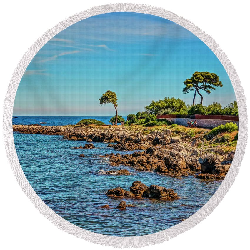 Coast Round Beach Towel featuring the photograph Coast At Antibes France Dsc02221 by Greg Kluempers
