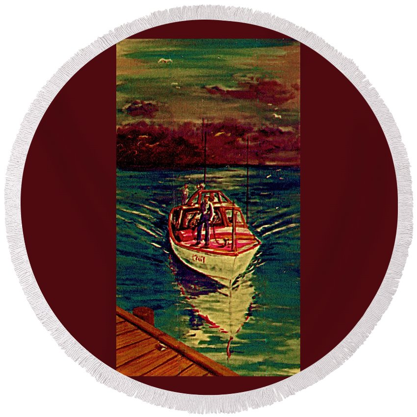Boat Mooring Round Beach Towel featuring the painting Coast Guard Before The Storm by Frank Hunter