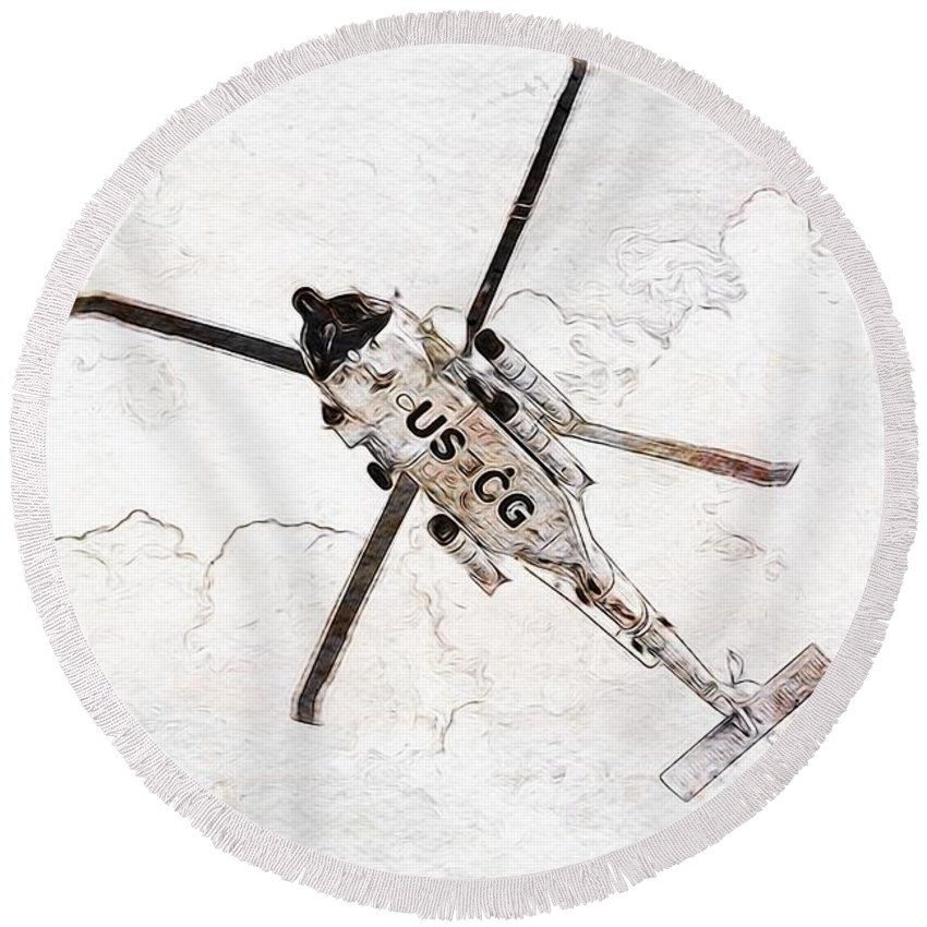 Coast Guard Round Beach Towel featuring the photograph Coast Guard Helicopter by Aaron Berg