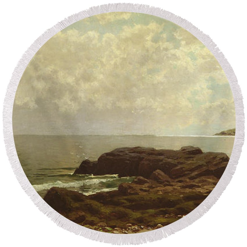 Beach Round Beach Towel featuring the painting Coast Off Grand Manan by Alfred Thompson Bricher