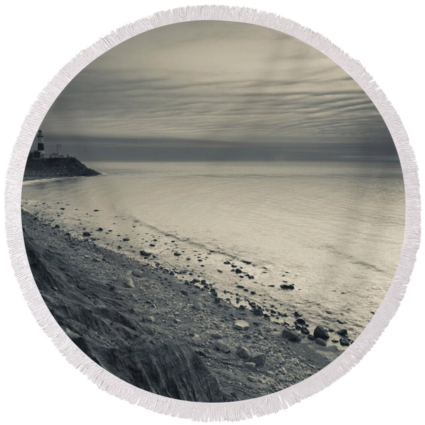 Photography Round Beach Towel featuring the photograph Coast With A Lighthouse by Panoramic Images