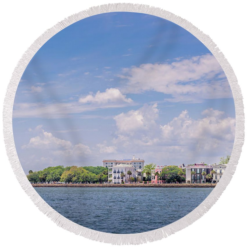 Beach Round Beach Towel featuring the photograph Coastal Area Of Charleston by Cecilius Concepcion