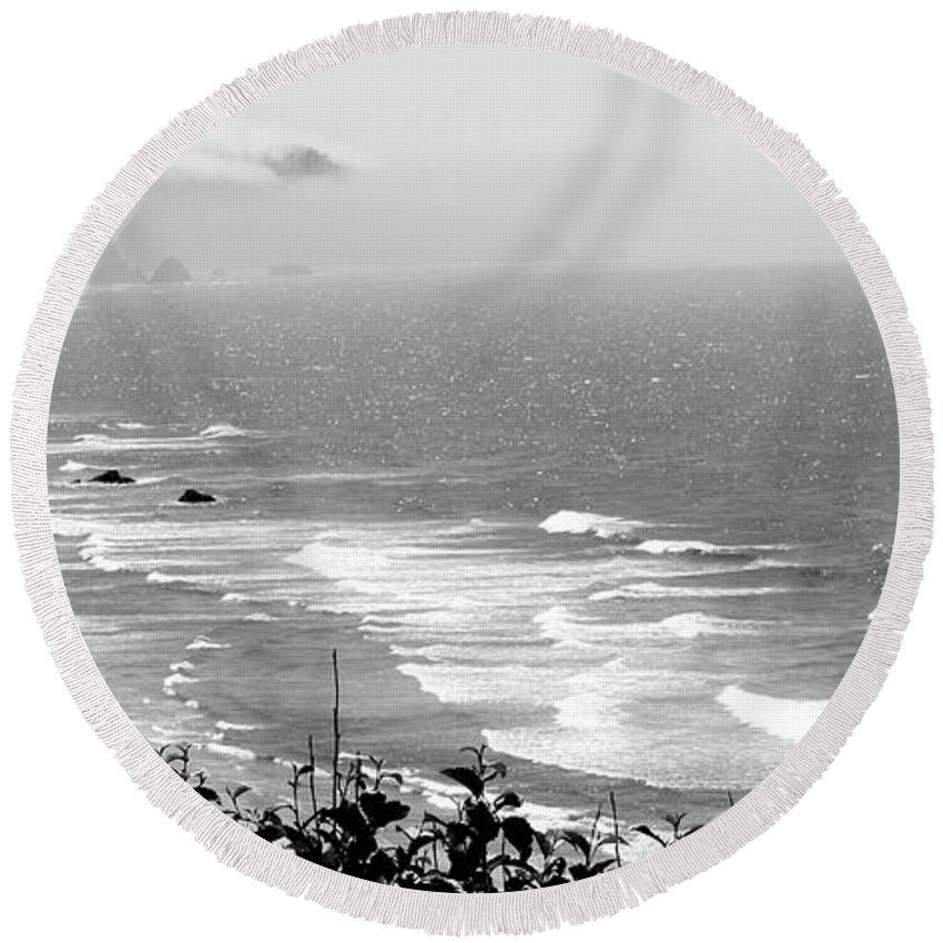 Round Beach Towel featuring the photograph Coastal Bandw by Jane Merrit