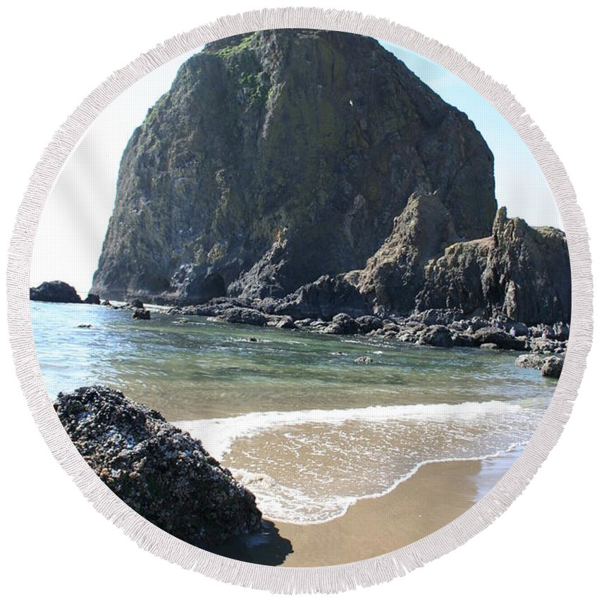 Coastal Landscape Round Beach Towel featuring the photograph Coastal Landscape - Cannon Beach Afternoon - Scenic Lanscape by Quin Sweetman